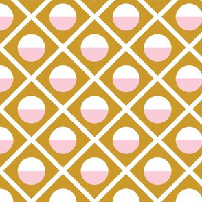 Geometric Diamond Circle Pink & Mustard
