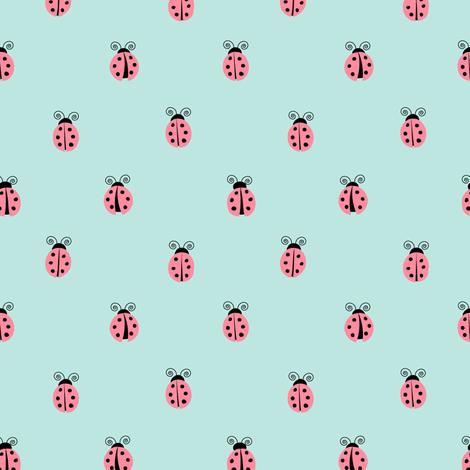ladybug || pink on blue fabric by littlearrowdesign on Spoonflower - custom fabric