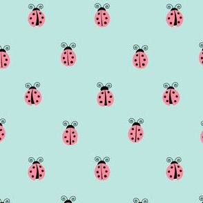 ladybug || pink on blue