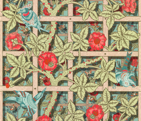 The William Morris Collection ~ Birds On A Trellis ~ Layers on Regal  fabric by peacoquettedesigns on Spoonflower - custom fabric