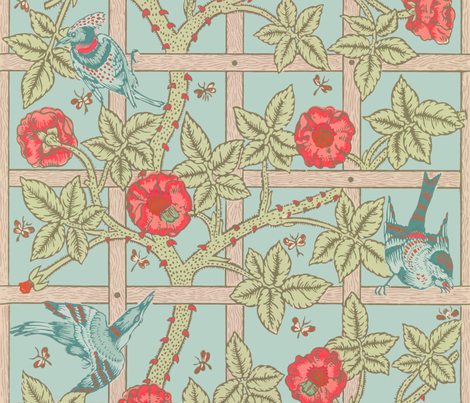 The William Morris Collection ~ Birds On A Trellis ~  Eau~de~Nil  fabric by peacoquettedesigns on Spoonflower - custom fabric