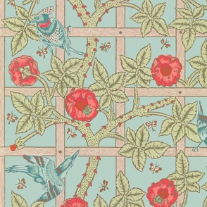 The William Morris Collection ~ Birds On A Trellis ~  Eau~de~Nil