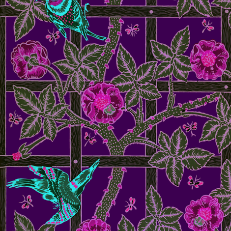 The William Morris Collection ~ Birds On A Trellis ~ Nightbloom on 1800  fabric by peacoquettedesigns on Spoonflower - custom fabric