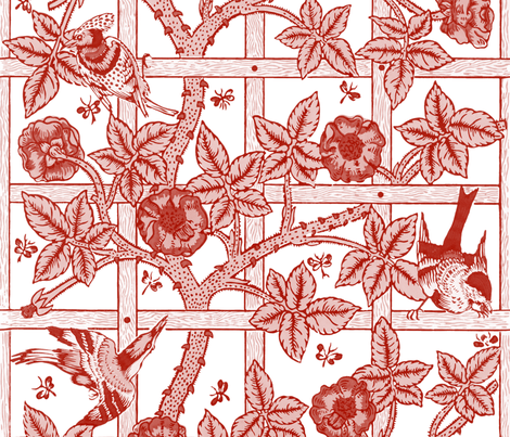 The William Morris Collection ~ Birds On A Trellis ~ Turkey Red and White  fabric by peacoquettedesigns on Spoonflower - custom fabric