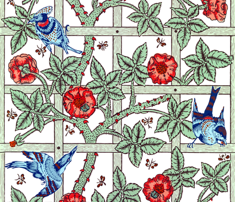 The William Morris Collection ~ Birds On A Trellis ~ Vivid  fabric by peacoquettedesigns on Spoonflower - custom fabric