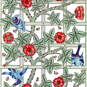 The William Morris Collection ~ Birds On A Trellis ~ Vivid