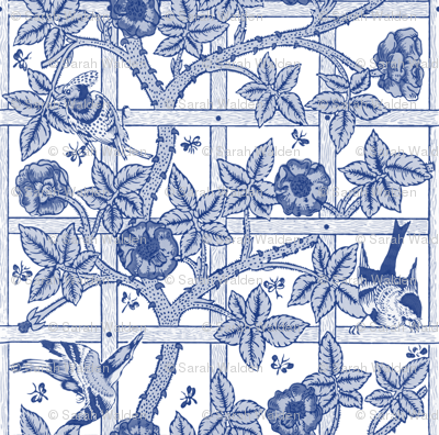 The William Morris Collection ~ Birds On A Trellis ~ Willow Ware Blue and White