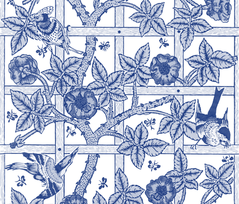 The William Morris Collection ~ Birds On A Trellis ~ Willow Ware Blue and White fabric by peacoquettedesigns on Spoonflower - custom fabric