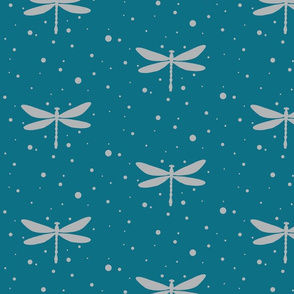 Dragonfly - Grey on Teal