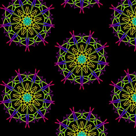 Vibrant Star Wheels on Deep Black fabric by rhondadesigns on Spoonflower - custom fabric
