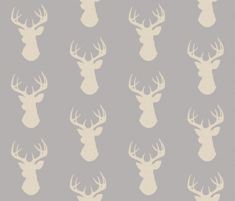 Deer- Rustic Woodland - tan and grey - light linen texture  fabric by sugarpinedesign on Spoonflower - custom fabric