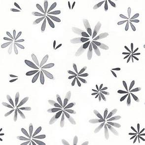 Grey flower watercolor