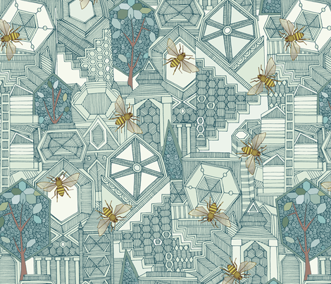 hexagon city fabric by scrummy on Spoonflower - custom fabric