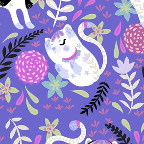 My little white cat in magic purple