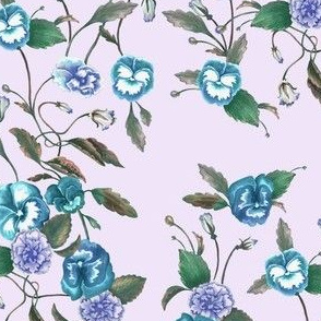 Pansy Blue on Pale Lilac