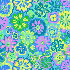 Wildflowers on blue