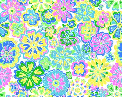 Wildflowers blue, pink & green