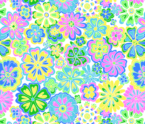 Wildflowers blue, pink & green fabric by melisse_pinto_designs on Spoonflower - custom fabric