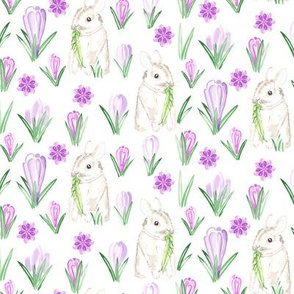 Baby Rabbit || Small Easter Bunny Watercolor Crocus Spring Floral Purple Green Lilac gray grey White  Animal _ Miss Chiff Designs