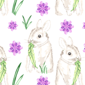 WatercolorBaby Bunny Rabbit || Easter Purple Green Gray Lilac Animal Spring Floral_Miss Chiff Designs