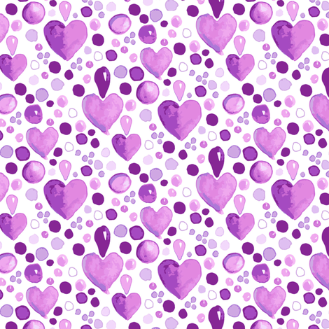 Watercolor Heart || Purple Easter  Lilac Love_Miss Chiff Designs fabric by misschiffdesigns on Spoonflower - custom fabric