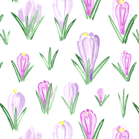 Watercolor Crocus  Flower floral || Lilac Purple Pink Yellow Green Easter Spring  _ Miss Chiff Designs  fabric by misschiffdesigns on Spoonflower - custom fabric