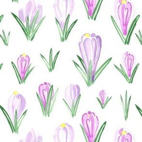 Watercolor Easter Floral Crocus Spring.