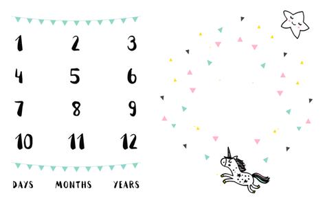 Unicorn Milestone Blanket fabric by littlelambandivy on Spoonflower - custom fabric