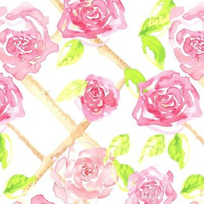 Watercolor Pink Rose Trellis Floral Garden Gardener_Miss chiff Designs