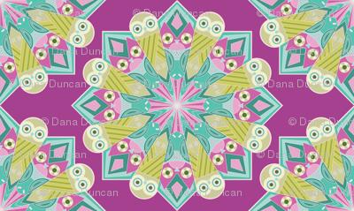 Mandala Owls in Purple