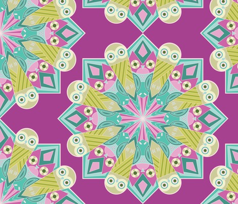 Mandala Owls in Purple fabric by pinkowlet on Spoonflower - custom fabric
