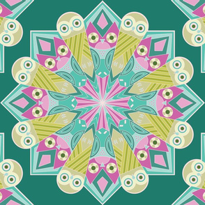 Mandala Owls In Teal
