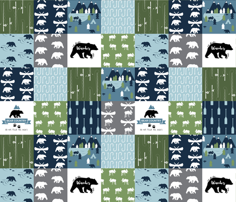 Camping Adventure Cheater Quilt fabric by buckwoodsdesignco on Spoonflower - custom fabric