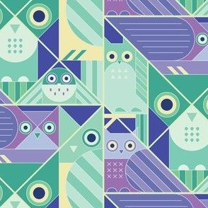 Modernist Owls Cool Tones
