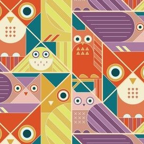 Modernist Owls Warm Tones