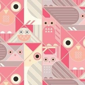 Modernist Owls in Pastels