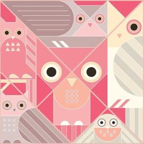 Modernist Owls Pastel Large