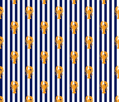 lobster_pumpkin_on_navy_stripe fabric by heretherebemonsters on Spoonflower - custom fabric