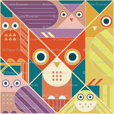Modernist Owls Warm Tones Large