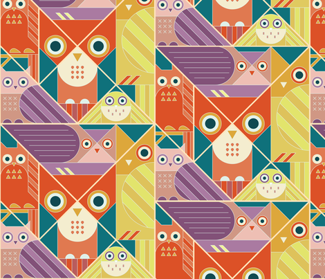 Modernist Owls Warm Tones Large fabric by pinkowlet on Spoonflower - custom fabric