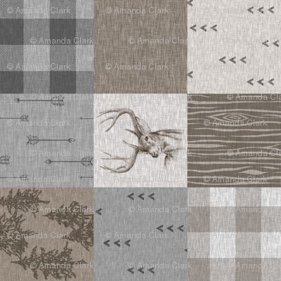 Rustic Buck Wholecloth Quilt - Soft Brown And grey - ROTATED