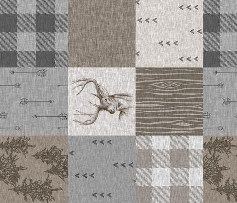 Rustic Buck Wholecloth Quilt - Soft Brown And grey - ROTATED fabric by sugarpinedesign on Spoonflower - custom fabric