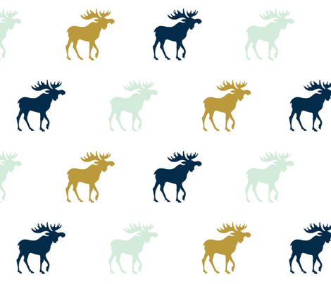 Moose - mint green, gold, navy on white fabric by sugarpinedesign on Spoonflower - custom fabric