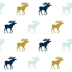 Moose - mint green, gold, navy on white
