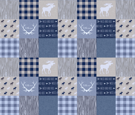 "3"" Patchwork Quilt - Denim Blues - Deer, Moose, Plaid, arrows, antlers, wood, woodland fabric by sugarpinedesign on Spoonflower - custom fabric"