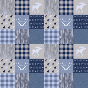 "3"" Patchwork Quilt - Denim Blues - Deer, Moose, Plaid, arrows, antlers, wood, woodland"