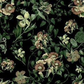 Floral green vine vintage style