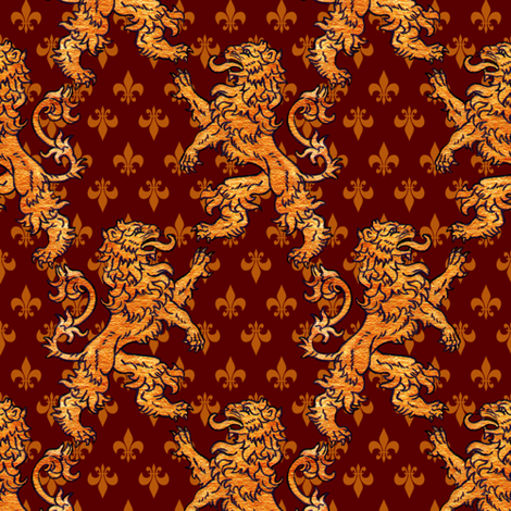 Medieval Gold Lions Gold Fleurs on Dark Red fabric by linda_baysinger_peck on Spoonflower - custom fabric
