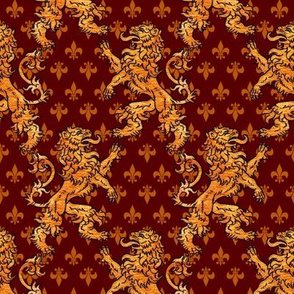 Medieval Gold Lions Gold Fleurs on Dark Red