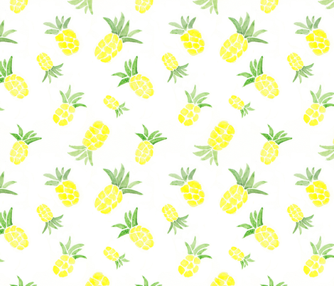 watercolor pineapple fabric by newlifedesign on Spoonflower - custom fabric